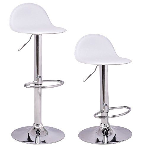 (COSTWAY Set of 2 Modern Swivel Chrome Barstools Adjustable Hydraulic Lift Chair Bar Stool Office Home Diner PU Leather Seat Multi-Color White)