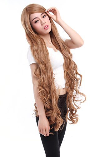 Cosplay Costumes For Sale In Cheap Price (Lemail wig 100cm Long Women Wavy Cosplay Wig Japan Anime Party Hair Wigs light brown)