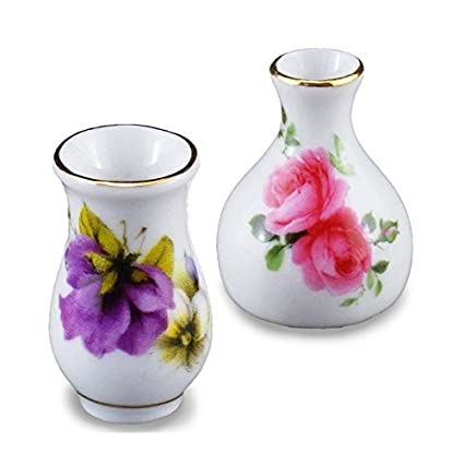 Amazon Dollhouse Miniature Flower Vase Set By Reutter Porcelain