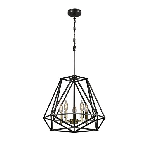 5-Light Chandelier, Dark Bronze Finish, Antique Brass Accents, 65435 (5 Light Chandelier)