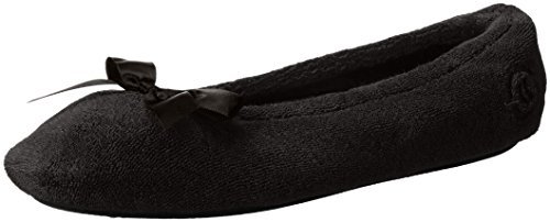 Isotoner Women's Terry Ballerina Slipper with Bow for Indoor/Outdoor Comfort, Black , X-Large / 9.5-10.5 Regular US
