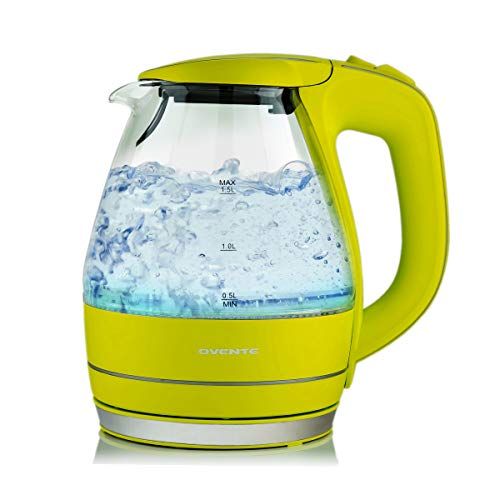 Ovente Portable Electric Glass Kettle 1.5 Liter
