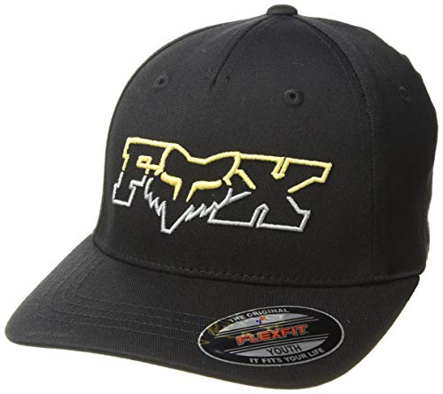 Baseball Racing Hat Cap (Fox Boys' Big Youth DUELHEAD Flexfit HAT, Black, OS)