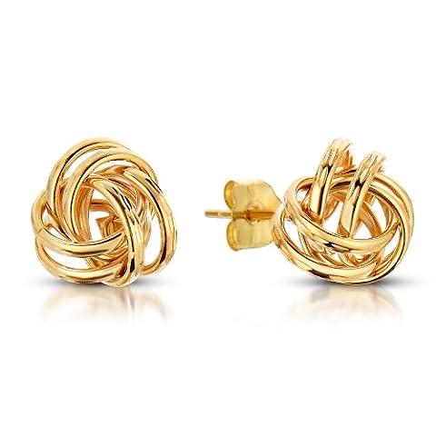 14k Yellow Gold Love Knot Stud Earrings (9mm Diameter)