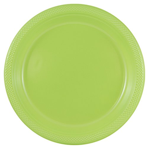 (JAM PAPER Round Plastic Party Plates - Large - 10 1/4 inch - Lime Green - 20/Pack)