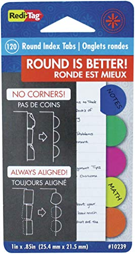 - Redi-Tag Round Poly Index Tabs, 20 Each of 6 Different Colors, 120 Tabs Total, 1 Inch Circular, 1 Pack (10239)