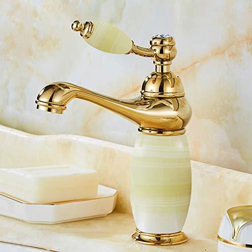 B redOOY Faucet Taps Full Copper gold Ceramic Faucet Antique pink gold Hot And Cold Jade Basin redating Marble Faucet, Mahogany Jade Pagoda