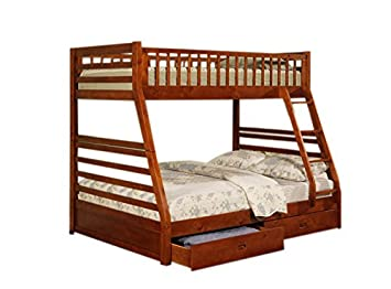 Amazon.com: Twin Full Size Bunk Bed with Storage Drawers in Cherry ...