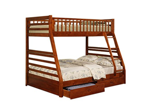 Coaster 460183-CO Twin Full Size Bunk Bed with Storage Drawers, Cherry Finish ()