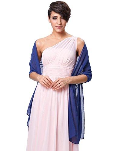 Women's Chiffon Bridal Evening Soft Shawl Scarves Royal Blue KK229