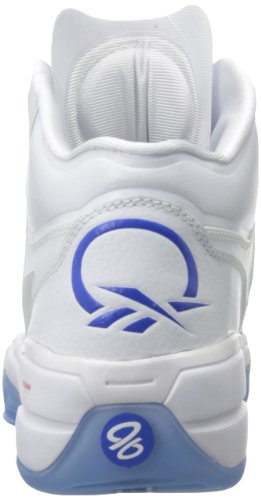 Reebok Mens Q96 Crossexamine Scarpa Da Basket Bianca / Blu Vitale / Stadio Rosso