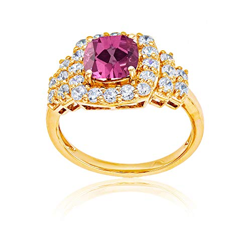 Sterling Silver Yellow 7mm Cushion Pink Topaz & Round Created White Sapphire Ring