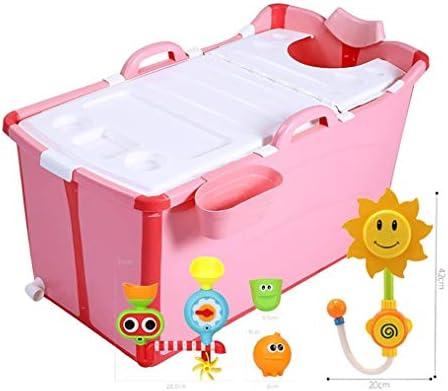 大人の折り畳み式の浴槽ポータブルバスタブ、家庭プラスチックホットタブ大型プラスチックバスタブノンスリップ断熱 (Color : Pink)