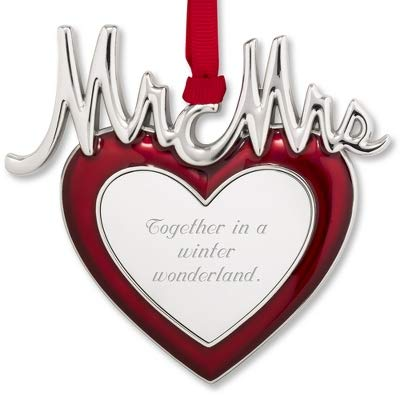 Things Remembered Personalized Mr and Mrs Enamel Heart Ornament with Engraving Included