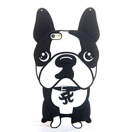 CASESOPHY 3D Cartoon Bull Dog Case for Apple iPhone 6 / iPhone 6s 4.7″ Screen Regular iPhones Black and White Color Cute Protective Lovely Soft Silicone Gel Japanese Kids Teens Girls Boys Gift