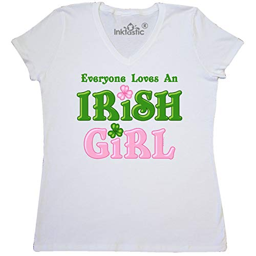 (inktastic - Loves an Irish Girl Women's V-Neck T-Shirt Medium White 20ab0)