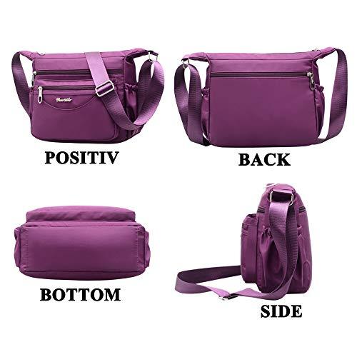 Purple Moda Bolsos Exull 1001 purple Mujer Viaje Mano De Messenger Bandolera Bolsas Bolso Gdlxl Nylon Impermeable Bag Sport q4ATtw