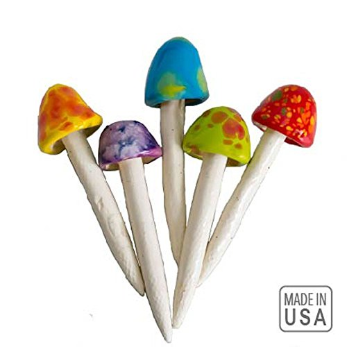 Planter Lawn (Mushroom Ceramic Fairy Garden Stakes - 5 Handmade Outdoor Ornament Decorations -Made In USA - Decor Toadstools for Lawns, Planters, Gardens, Yards)