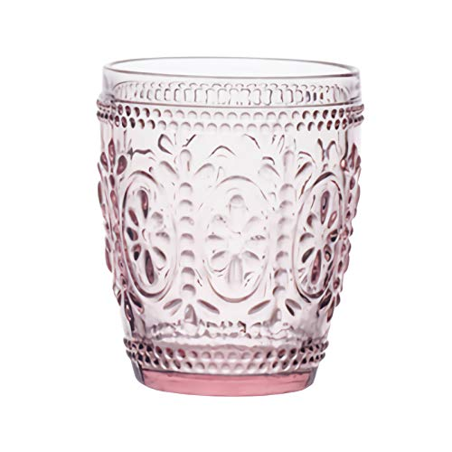 Chic Vintage Style Creative Embossment Muticolor Milk Glasses Cup Clear Glass Lemon Juice Cups Ice Cream Drinking Highball Glasses Beer Wine Whiskey Water Tumblers Cola Mug Cup ()
