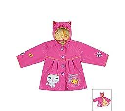 Kidorable Little Girls\' Lucky Cat PU Raincoat, Pink, 3T