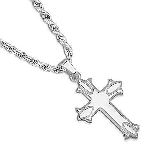 9d230504421b XP Jewelry Sterling Silver Budded Cross Pendant Italian Made Rope Chain  Necklace - 070 3.5mm