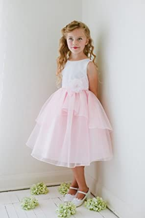 Amazon.com: Kid Collection Pink White Flower Girl Dress size 2-12 ...