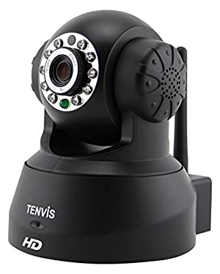 TENVIS JPT3815W-HD Wireless Surveillance IP/Network Security Camera, Baby Monitor, Night Vision, Black by TENVIS