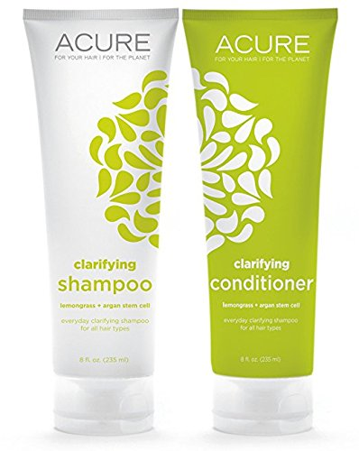 Acure Organics Lemongrass and Argan Stem Cell Volume Natural Shampoo and Conditioner 8 Oz