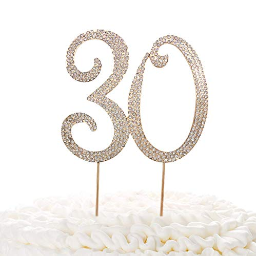 30 Gold Cake Topper | Premium Sparkly Crystal Rhinestones | 30th Birthday or Anniversary Party Decoration Ideas | Quality Metal Alloy | Perfect Keepsake Thirty
