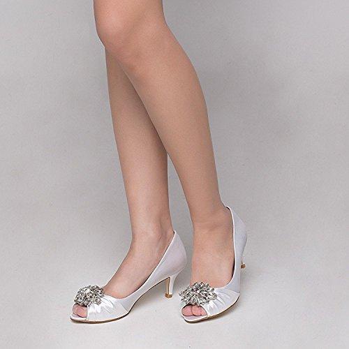 Laras Womens Open Toe Wedding Dress Pump Shoes White r0dKr