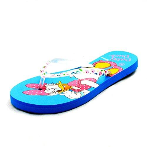Ladies flat minnie mouse or daisy duck detail flip flop sandals Blue