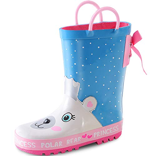 KushyShoo 3D Kids Rain Boots with Easy-On Handles, Rubber Rainboots for Girls & Boys (Toddler/Little Kids/Big Kids)