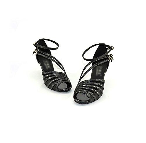 Tacones WYMNAME De Baile Mujeres De Salón Zapatos Zapatos Negro Sandalias Internacional Baile Mediados Latino De Social Baile Vendaje Estándar De Zapatos Interior De zrggpcW