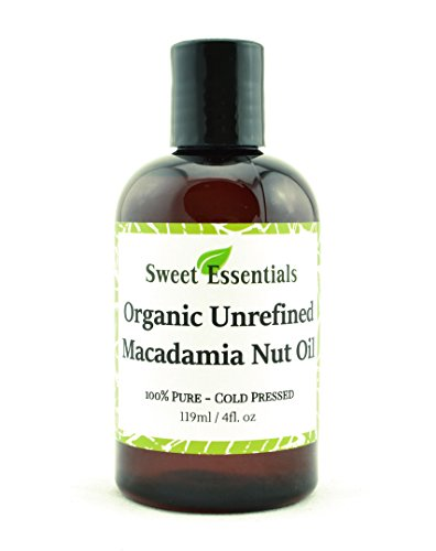100% Pure Cold Pressed Organic Virgin / Unrefined Macadamia Nut Oil - 4oz - Imported From Italy - Offers Relief From Dry & Cracked Skin, Eczema, Baby Eczema, Psoriasis, Dermatitis, Rosacea & All Common Skin Conditions, Best Natural Moisturizer - 100% Natural, Vegan, Chemical & Preservative Free - By Sweet Essentials