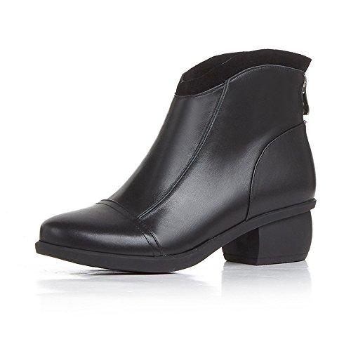 Nueve siete tacón mujeres punta redonda, hecho a mano de piel auténtica Ankle Boot con cremallera en la espalda, color negro, talla 42