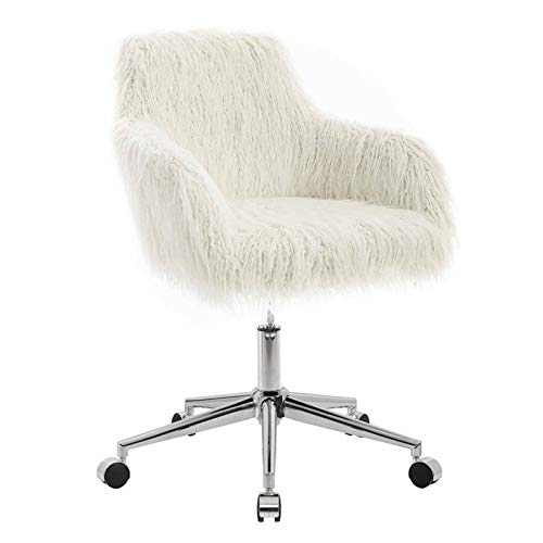 Amazon.com: Linon Fiona White Faux Fur Office Chair