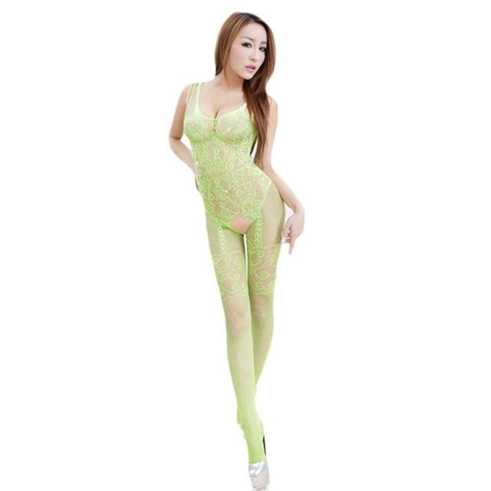 Womens Sexy Lingerie Floral Open Crotch Mesh Body-Stockings Perspective Temptation Bodysuits Underwear (Free Size, Green)