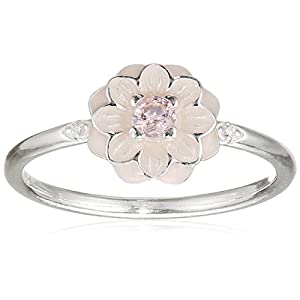 PANDORA Blooming Dahlia Ring, Cream Enamel, Clear CZ & Blush Pink Crystals 190985NBP-56 EU 7.5 US