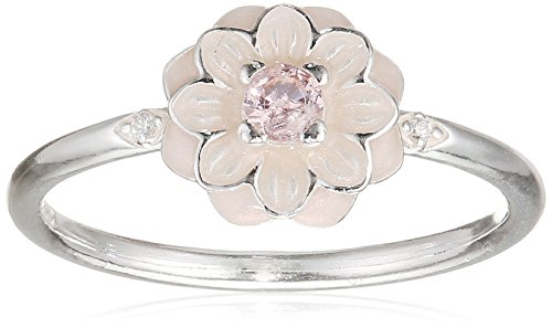 PANDORA Blooming Dahlia Ring, Cream Enamel, Clear CZ & Blush Pink Crystals 190985NBP-56 EU 7.5 US (Dahlia Blush Pink)