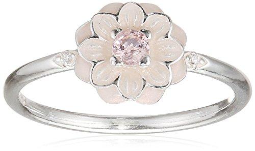 PANDORA Blooming Dahlia Ring, Cream Enamel, Clear CZ & Blush Pink Crystals 190985NBP-56 EU 7.5 US (Dahlia Pink Blush)