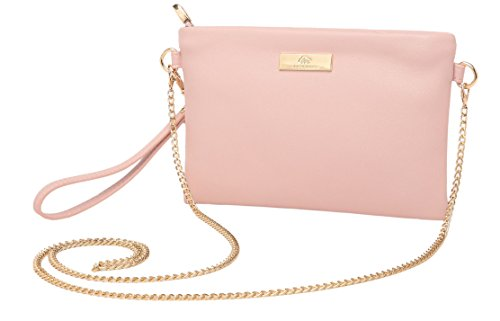 Pink Cross Body (Aitbags Soft PU Leather Wristlet Clutch Crossbody Bag with Chain Strap Cell Phone Purse)