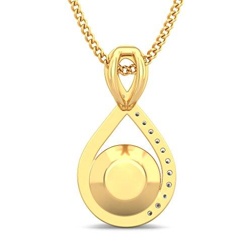 14K Or jaune 0,1ct tw Round-cut-diamond (IJ | SI) et blanc perle Pendentif