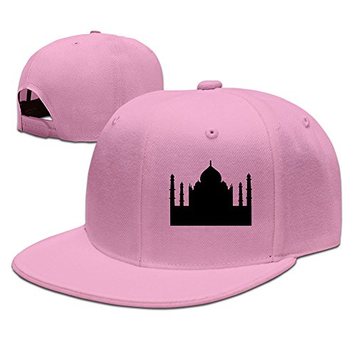 Custom Unisex Pink Adjustable Fashion Taj Mahal Mausoleum In Agra In India Snapback Flat Baseball Cap One Size