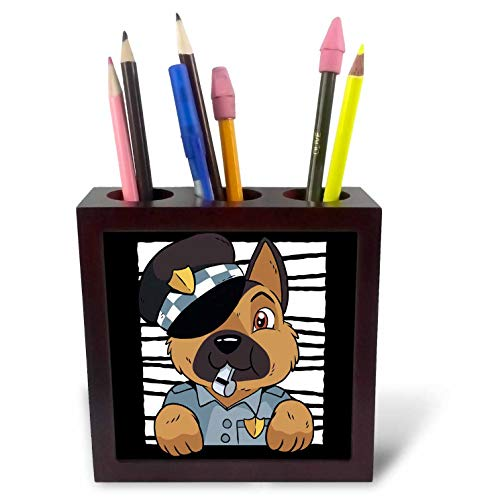3dRose Sven Herkenrath Dog - German Shepherd Dog Doggy as Police Pet - 5 inch Tile Pen Holder (ph_309977_1)