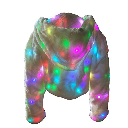 Ohlees® LED Light Up Shining Eve Party Jacket Women Winter Long Sleeve Faux Fur Coat Warm Hoodie (L)]()