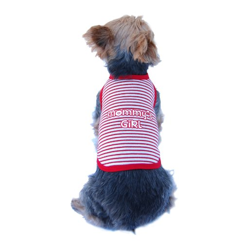 Anima Red White and Silver Stripe Mommy's Girl Tank Top, X-Small, My Pet Supplies
