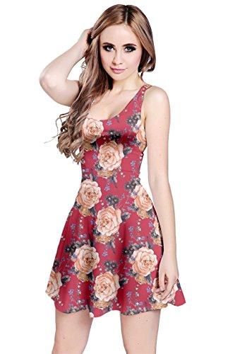 Cowcow Des Femmes De Roses Anciennes Fleurs Motif Floral Robe Sans Manches, Xs-5xl Rouge