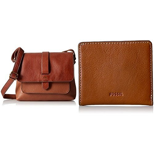 Fossil Kinley Small Crossbody, Brown with Emma Mini Rfid Wallet by Fossil