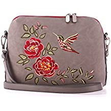Alba Soboni Designed Women's PU Leather Zip Grey Embroidered Girl's Medium Casual Crossbody Bag
