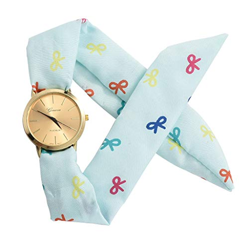 (Elegant Women Floral Stripe Cloth Bracelet Mineral Glass Dial Window Quartz Analog Wrist Watch ?????)